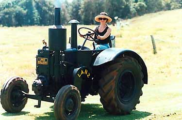 Deb rides the tractor